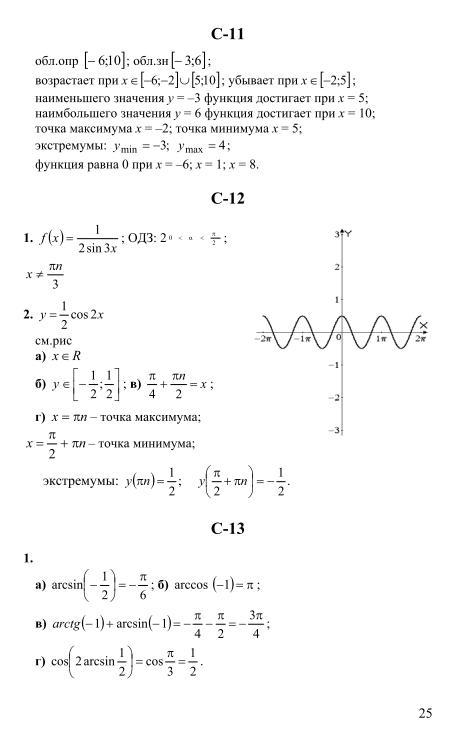 Решебник по дидактическому материалу 11 класс по алгебре