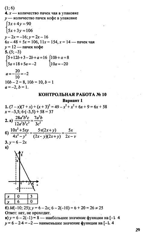 Готовые контрольные работы по математике 7 класс ответы