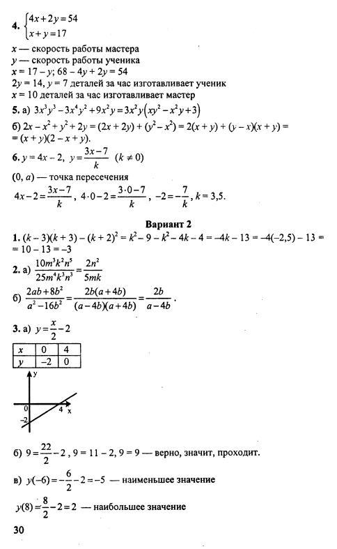 класс алгебра дудницын решебник контрольных 7