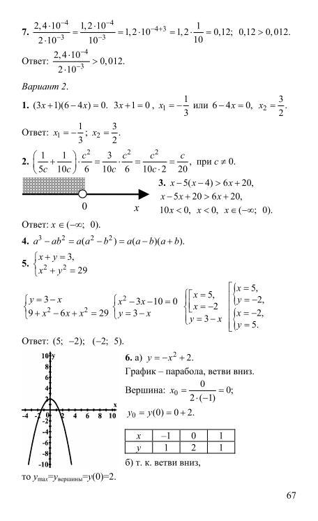 алгебра контрольные работы 9 класс кузнецова решебник