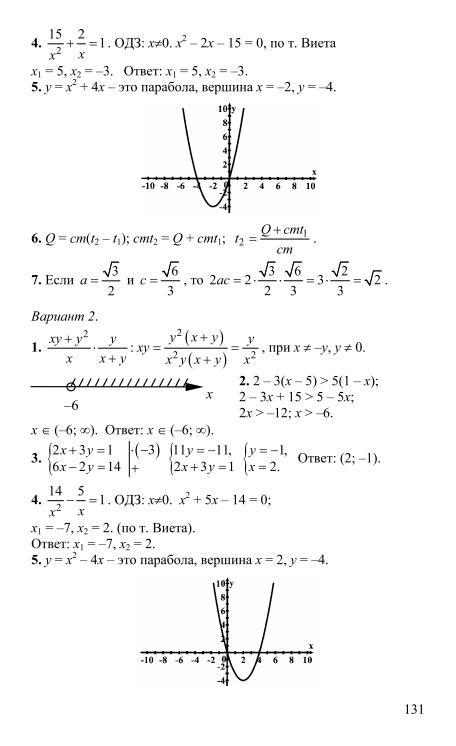 алгебра 9 класс для проведения письменного экзамена гдз