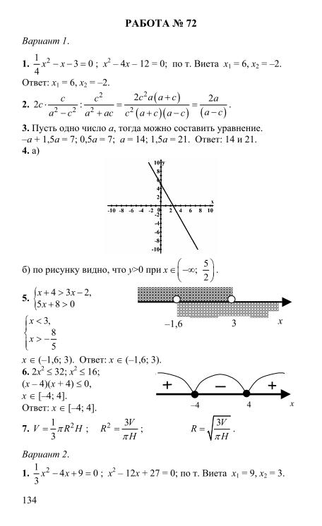 гдз по сборнику заданий по алгебре 9 класс кузнецова приложение ответы
